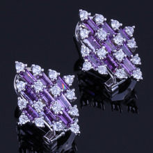 Magnificent Quadrilateral Purple Cubic Zirconia White CZ 925 Sterling Silver Clip Hoop Huggie Earrings For Women V0902