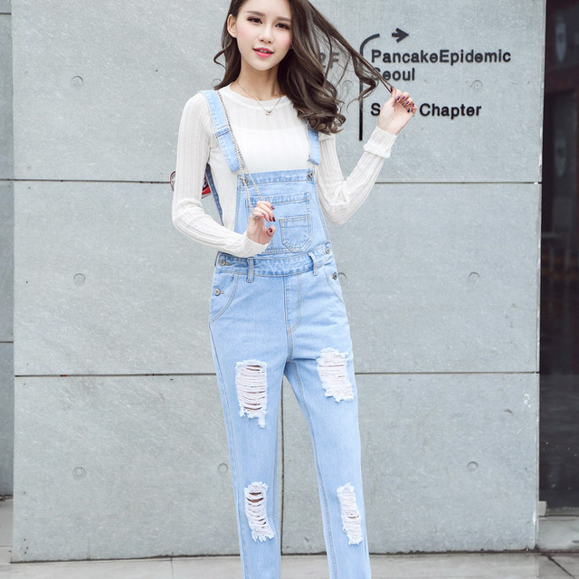 9a08648520d1 2019 New Free shipping Korean New Womens Jumpsuit Denim Overalls Casual  Skinny Girls Pants Jeans