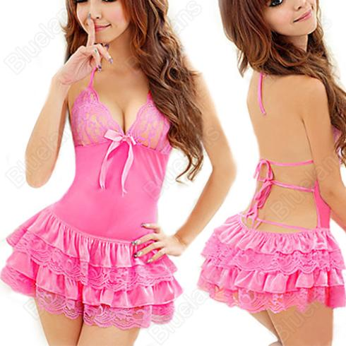 Pink Sexy Women Underwear  Babydoll Halter Neck Backless Dress Night Sleepwear Free Size 0IQ4 9BLS