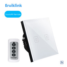 Eruiklink EU Type Wireless Remote Control Touch Switch 2 Gang 1 Way, RF433 Smart Wall Glass Panel Switch, Big Remote Controller
