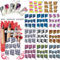 2015 HOTSALE 20 hoja/lot etiqueta del agua etiqueta engomada del clavo Francés. francés pegatina para nail art design + Separada embalado