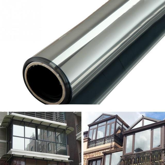 Película de vidrio para ventana espejo de una manera pegatinas de aislamiento de plata 1 m * 40/50 cm 2 m * 40 /50 cm Solar reflectante decoración del hogar dormitorio