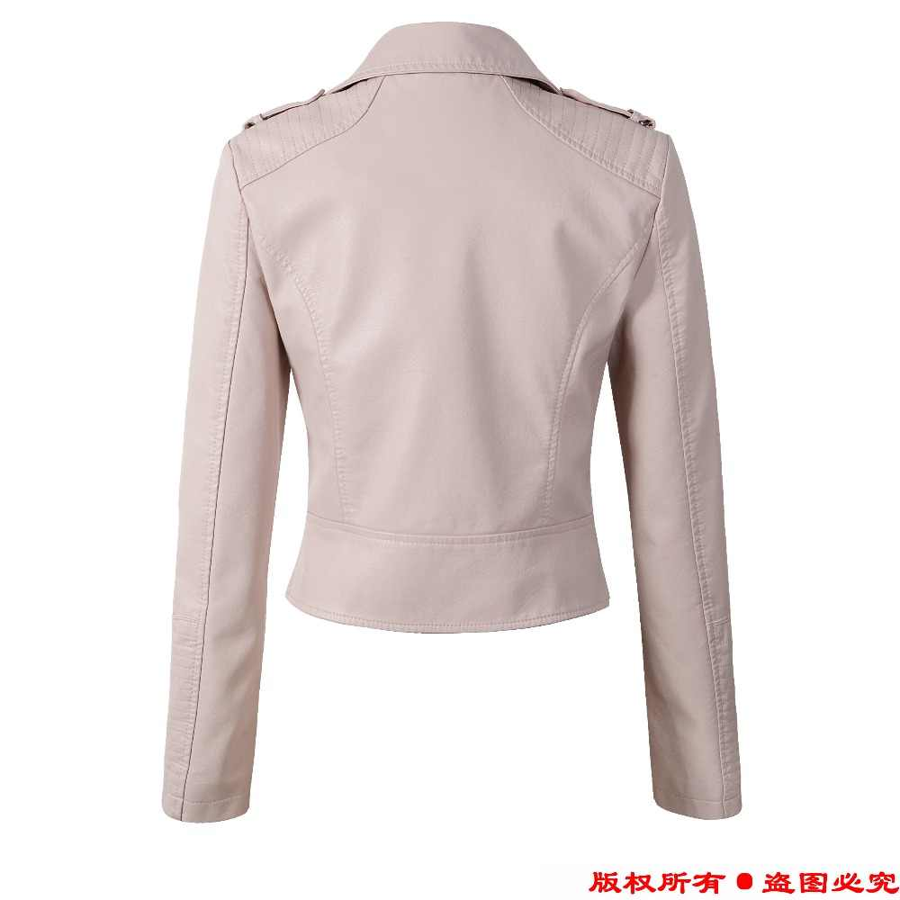 43eebf640 New Women pink faux leather motorcycle jackets chaquetas de cuero mujer Hot  2019 black casual fashion S- XL slim fit short coat