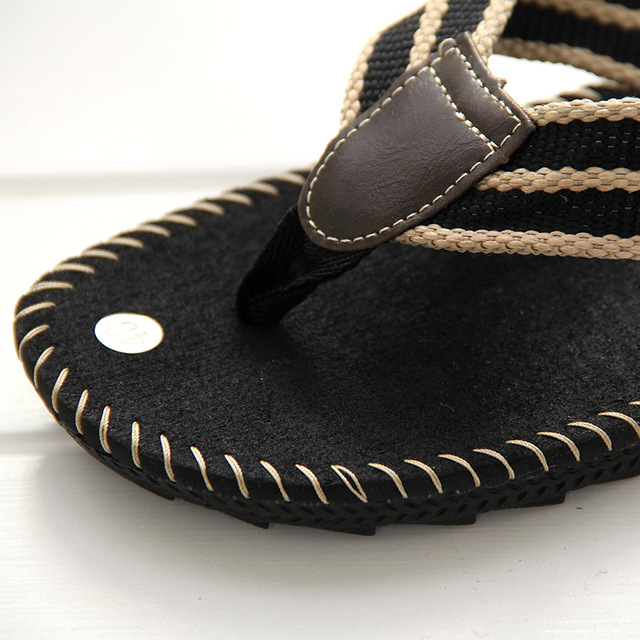 TPR beef bottom cool British style men's beach male sandals and canvas slippers students suture leatherette flip-flops