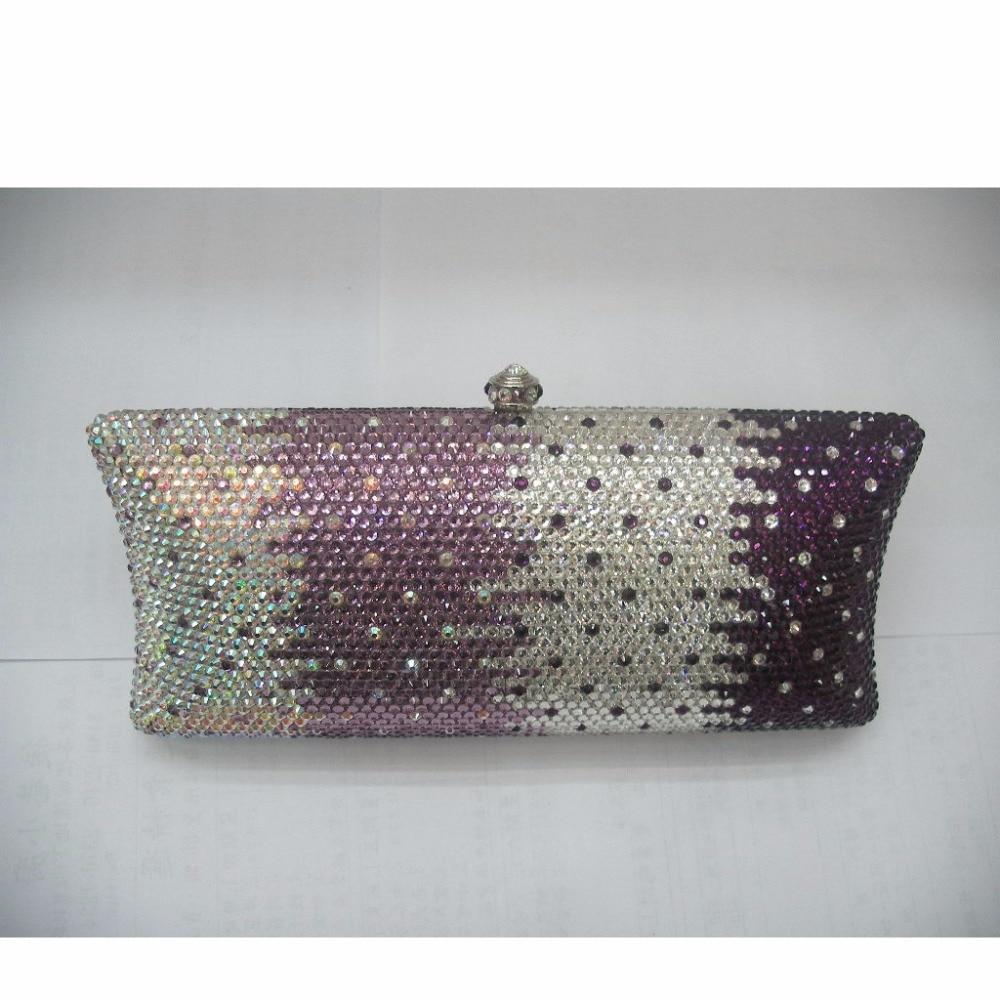 ФОТО S7735CP Crystal Purple in Gradual change effect Lady fashion Bridal Metal Evening purse clutch bag case handbag box