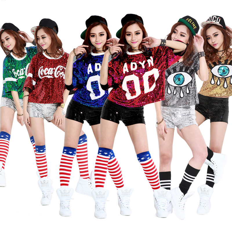 1903cf0d 2016 Women Tshirt With Funny Print Sequined Top Plus Size Christmas T  Shirts Hip Hop Rock Punk Jazz Club Clothing Camiseta Mujer