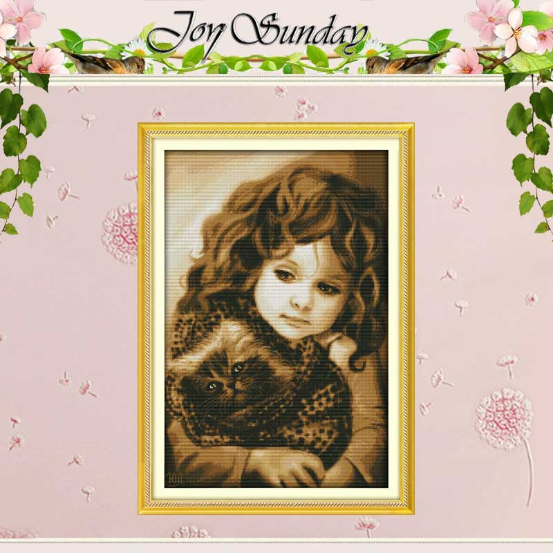 Free Ship Girl and Cat Patterns Counted  Cross Stitch 11CT Printed 14CT Cross Stitch Kits for Embroidery Needlework Crafts