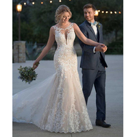 LORIE 2019 Summer Mermaid Wedding Dresses Lace Appliques Bridal Gowns Lace Wedding Dresses Custom made Plus size