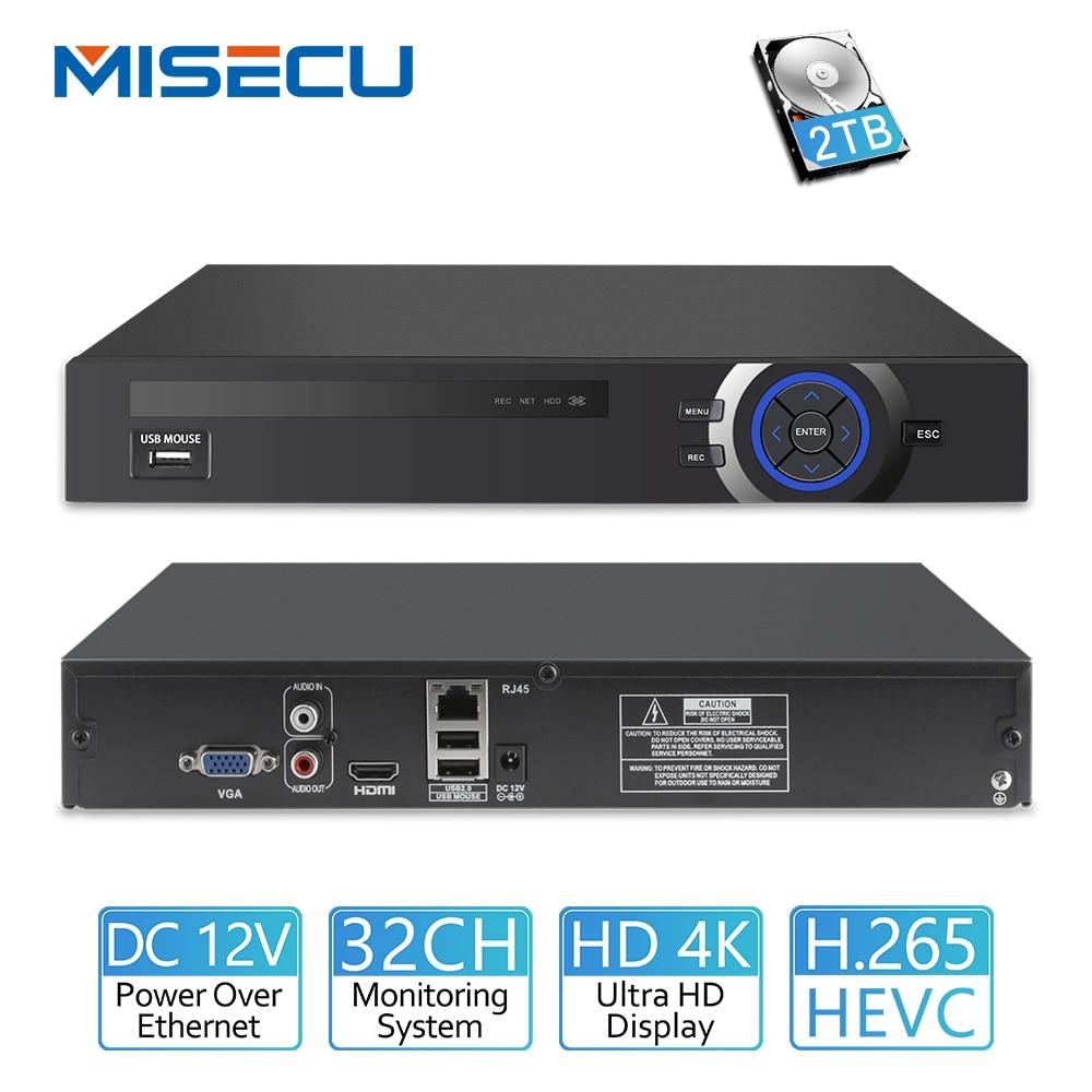 MISECU H.265 25CH 5MP 32CH 1080 P 8CH 4 K CCTV DVR NVR Network Video Recorder Onvif 2.0 para IP câmera 2 SATA XMEYE P2P Nuvem