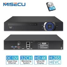 MISECU 25CH 5MP 32CH 1080 P 8CH 4 K CCTV H.265 NVR видеорегистратор сетевой видеорегистратор с протоколом Onvif 2,0 для IP Камера 2 SATA XMEYE P2P облако