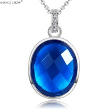 2017 Fashion Jewelry Oval Bule Crystal Stone 925 Sterling Silver Pendant for women Career Wear Accessories