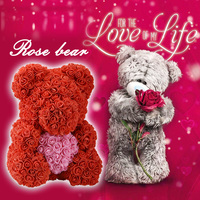 Clearance Sale Cheap 40cm Red Bear Rose Teddy Bear Rose Flower Artificial Decoration Christmas Gifts for Women Valentines Gift