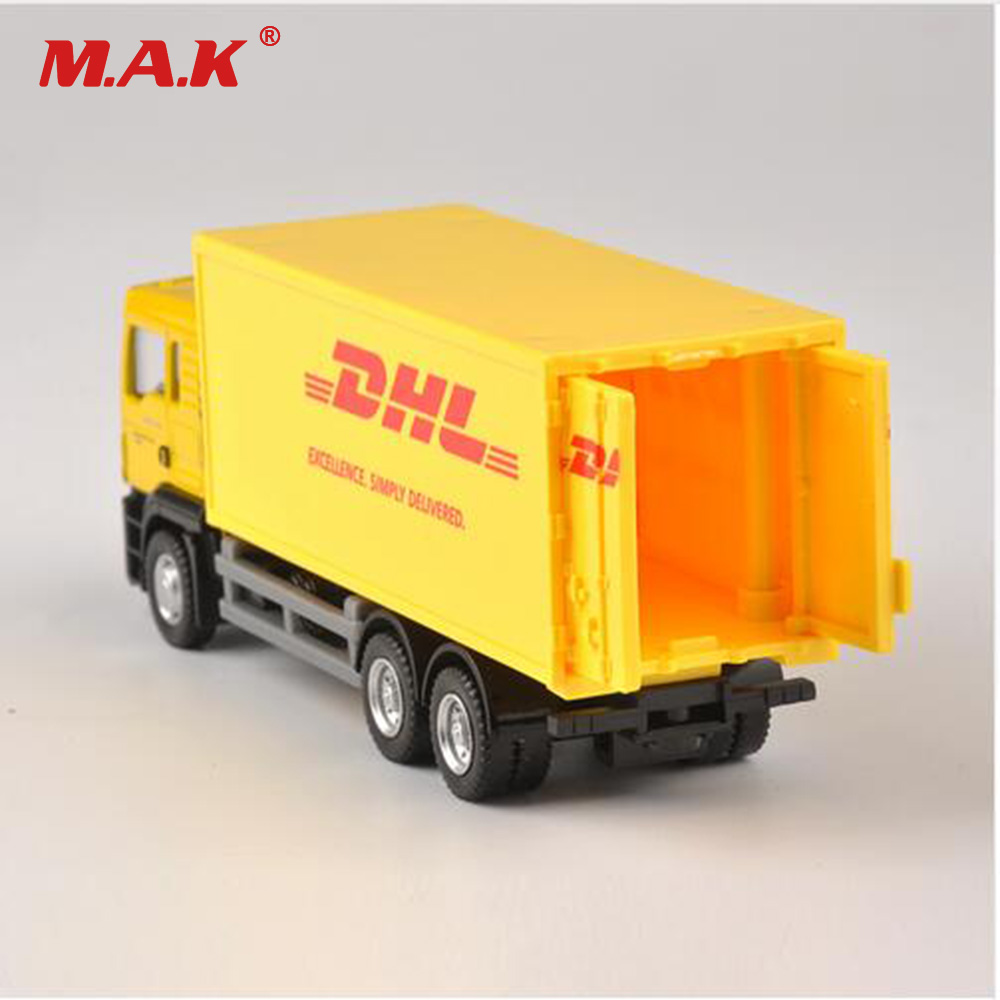 Купить с кэшбэком 1:64 Scale Model Car Diecast Truck Express DHL Truck Model Yellow Container Transporter Kids Toys for children Collection Gift