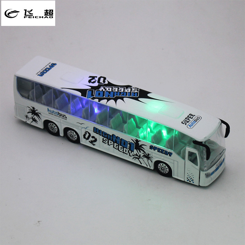 Feichao 1:50 Diecast Cars Bus Metal Model Car Toys For Children Boys Alloy Bus Toy With Openable Doors/Light Toy Vehicle