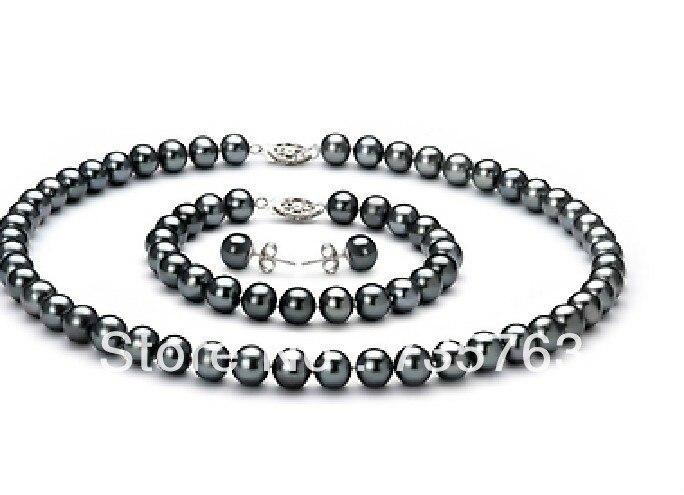 Livraison gratuite xiuli 0011 un ensembles de tahiti 9-10mm noir perle collier boucle d'oreille et bracelet 14KGP or