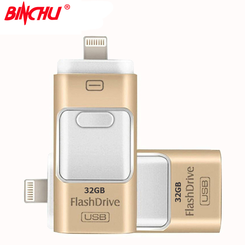 BINCHU For iPhone 7 6 6s Plus 5 5S ipad Pen drive memory stick Dual mobile OTG Micro OTG USB Flash Drive 16GB 32GB 64GB PENDRIVE i flash drive usb micro sd tf card reader flash drive for iphone 6s 6 plus 5 ipad 80310