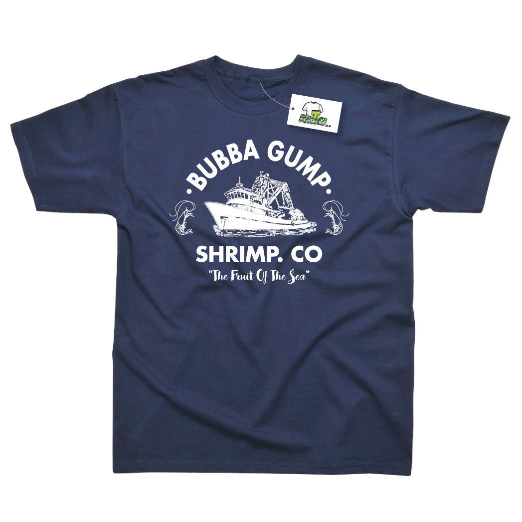Bubba Gump Shrimp Inspired by Forrest Printed T-Shirt Top Tee 100% Cotton Humor Men Crewneck Shirts Tops Tshirt Homme