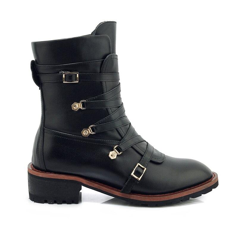 Zyl1844 39 Enmayer Punta Para Zapatos Botas Black Bolso Tacón Mujer Tamaño 34 Las Cuadrado Mujeres Cuero Genuino Tobillo De 1fTFq1