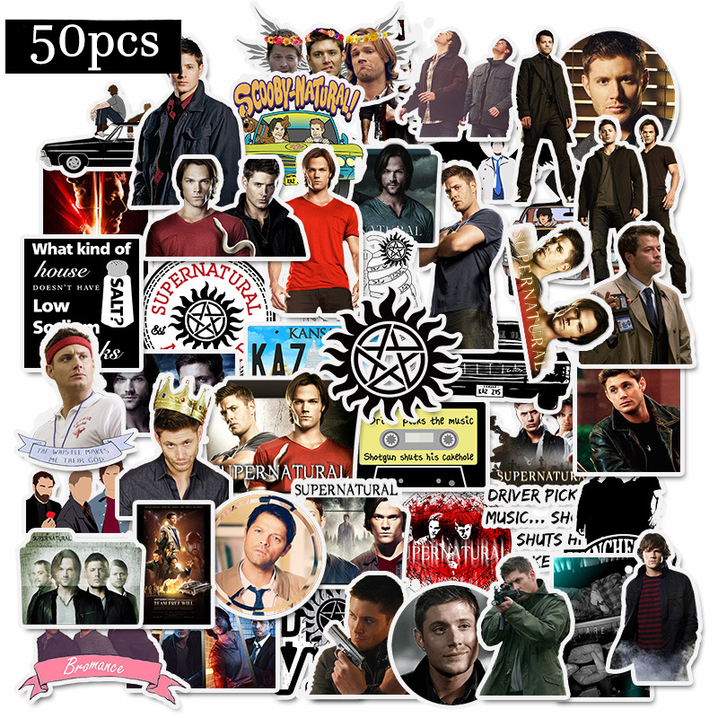 50Pcs SUPERNATURAL TV Movie Handsome Waterproof Sticker For Fans Luggage Skateboard Phone On Laptop Moto Bicycle Wall Guitar
