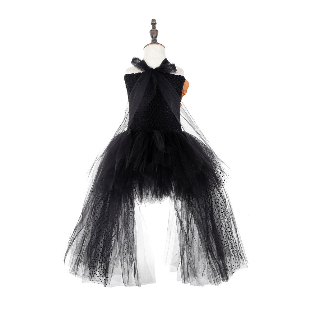Black Polyester Mesh Polka Dot Dress with Gold Flower Wedding Dress Long Train Halloween Costumes for Teens Xmas Clothes Vestido (5)