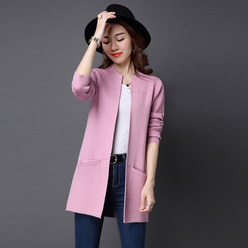 Spring Jacket Autumn pink Fashion Long mei red purple Red Pocket Cardigan Size Women Loose New grey Large Sweater Knitted Outerwear Coat Wild Black Tops Female Xd4RwxXqr