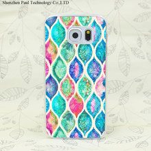 1758W Tartan Hard Transparent Case Cover for Galaxy S2 S3 S4 S5 Mini S6 S7 edge