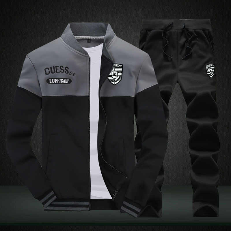 Спортивный костюм для мужчин, модный дизайн, мужские пальто, толстовка, Повседневная тонкая спортивная одежда с круглым воротом, куртка + штаны, мужские худи 2019