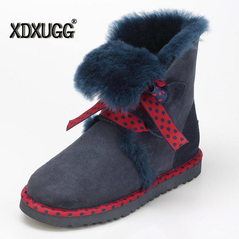 Australia natural sheep fur one ug snow boots female winter Keep warm Flat Bandage Calf height Boots,Large size/ Free shipping