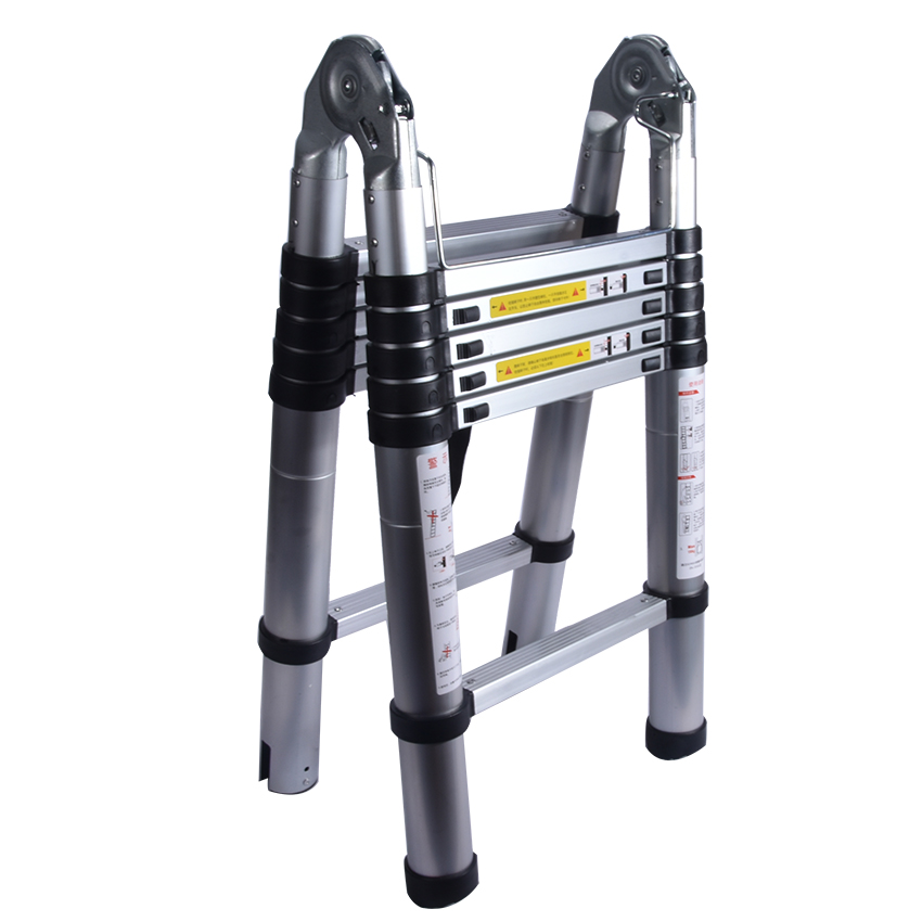 1.9M+1.9M Telescopic Ladder Thickening Alloy Aluminum Doorway&herringbone   Retractable Ladder Multifunctional  Portable Ladder