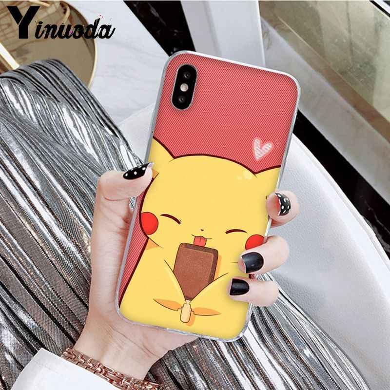Yinuoda pokemons eevee pika patrón accesorios del teléfono de la caja del teléfono celular para el iPhone 8 De Apple 7 6 6S Plus X XS X MAX 5 5S SE XR cubierta