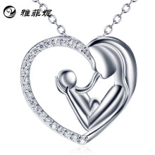 silver pendant necklace wholesale mother-child love Collarbone chain sterling silver jewelry wholesale undertakes fresh water pearl pendant necklace for women elegant round hollow out necklace silver lady s collarbone chain wholesale