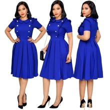 Elegant OL Women African Dresses Doll Collar High Waist Button Pleated African Dresses for Women Plus Size