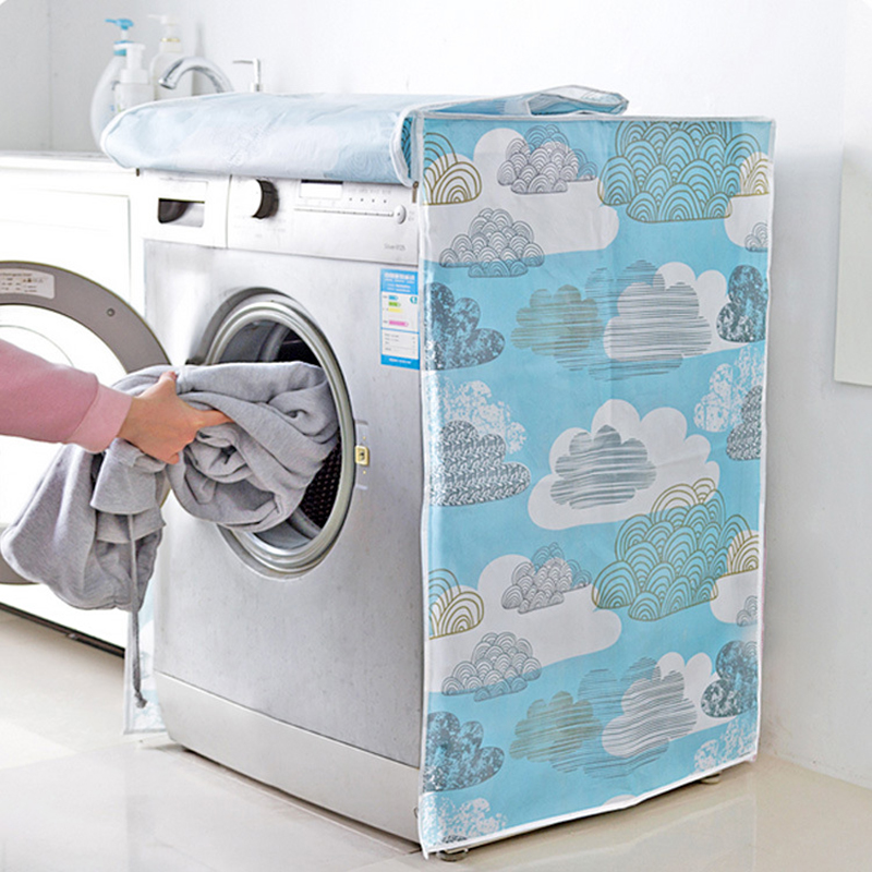 Front Loading Washing Machine Cover PVC Dust Proof Covers Waterproof Case Washing Machine Protective Dust Cover image