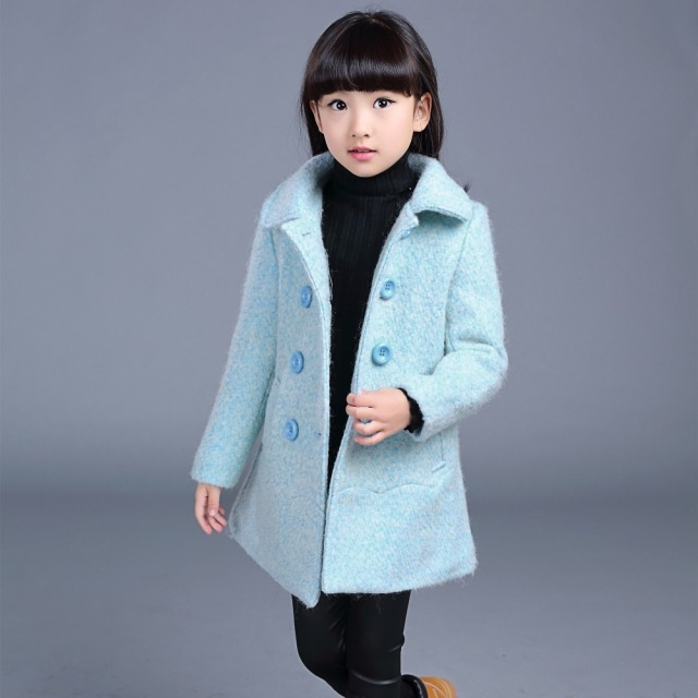 Kids girls wool coat jacket winter clothes children fashion costume clothing 2015 girls princess woolen coat outerwear party