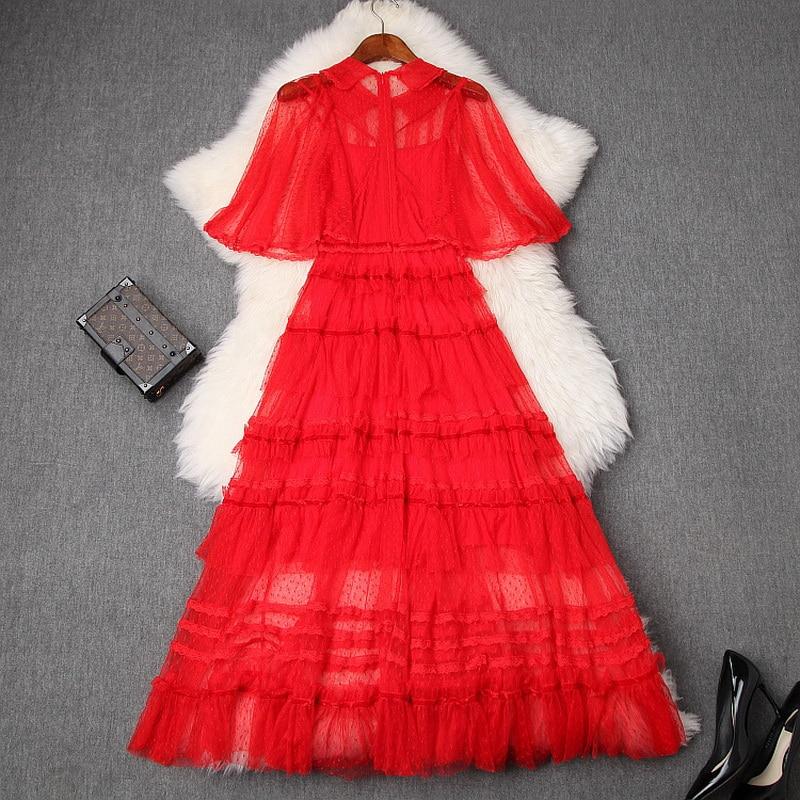 Blanc rouge fête longues robes 2019 été mode femmes col rabattu Sexy pure dentelle maille Patchwork longue robe Maxi Cape