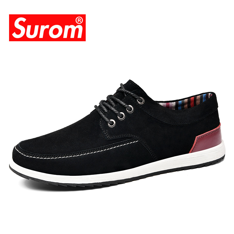 SUROM Mens Leather Casual Shoes Luxury Brand Spring Autumn Shoes Men Loafers Adult Moccasins Krasovki Suede Shoes Sneakers Men