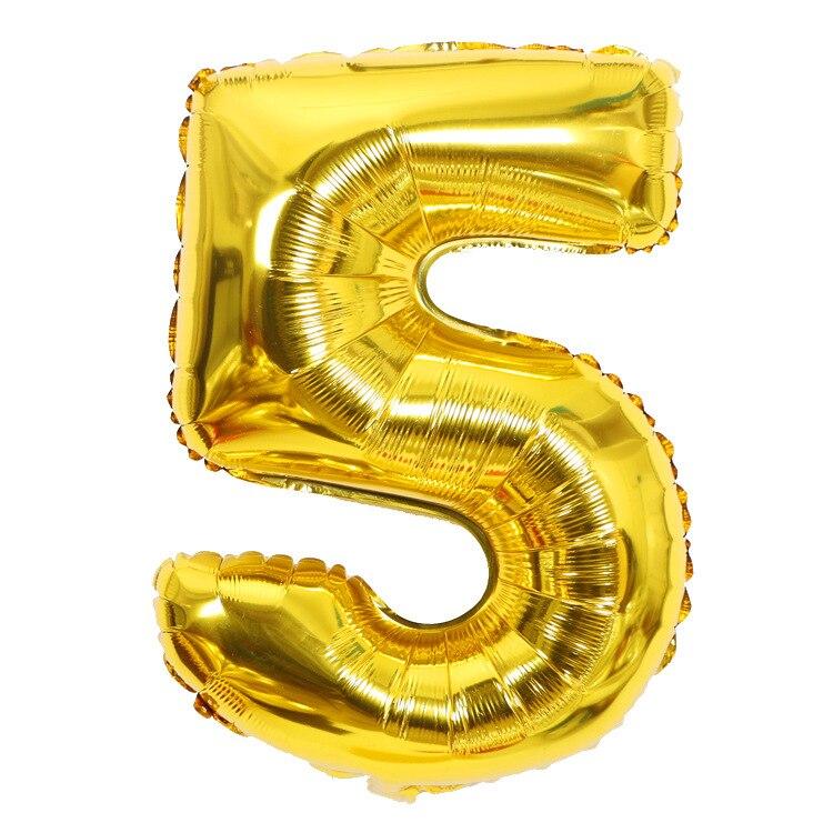 Золотой Серебряный 32 дюйма 0-9 большой гелиевый цифровой воздушный шар фольги Детский праздник день рождения вечеринка для детей мультфильм шляпа игрушки - Цвет: gold 5