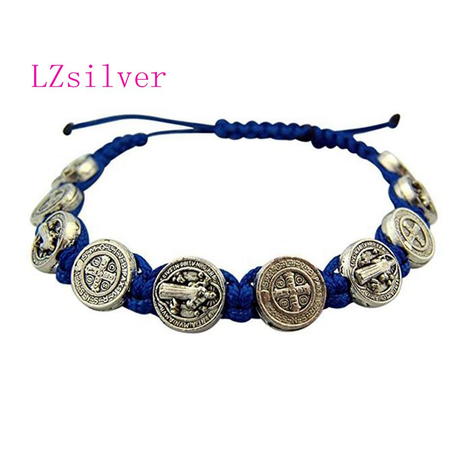 5 Pcs Silver Saint St Benedict Medal On Adjustable Blue Cord Bracelets 8 Inch B-41 Moderate Cost