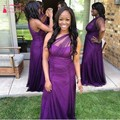 Grape Purple Long Bridsmaid Dresses Tulle One Shoulder bridesmaid dress vestido madrinha TB1330