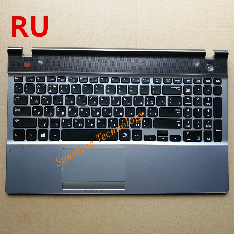Russian New Laptop Keyboard With Touchpad Palmrest For Samsung NP550P5C 550P5C Ru Layout