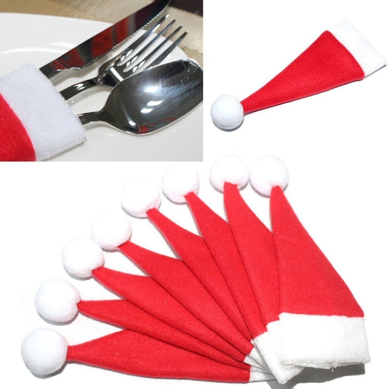New 10PCS/Set Christmas Hat Silverware Holder Xmas Mini Red Santa Claus Cutlery Bag Party Decor