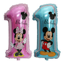 Mickey Minnie Balloon Pink Blue Number One Helium Air Ballon 1st Birthday Party Balloons For Baby 1 Decoration Supplies