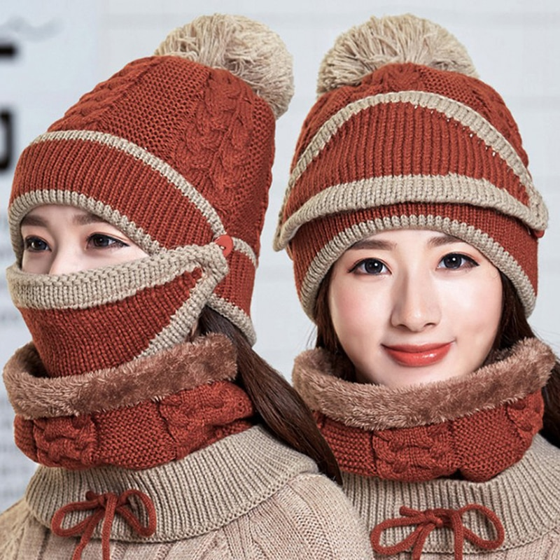 Women Winter Beanies Knitted Thickened Hat With Warm Mask And Neck Scarf Driver Windstop Sets For Women