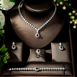 Image 2 - HIBRIDE Fashion Simple AAA Cubic Zirconia Crystal Women Earrings Necklace Set for Brides Wedding Costume Jewelry Set N 329