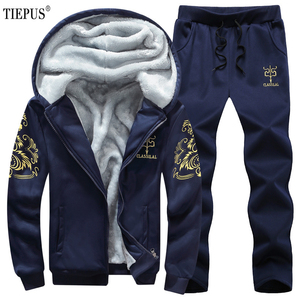 TIEPUS رياضية الرجال عارضة مقنعين الدافئة البلوز الذكور الشتاء سميكة الداخلية الصوف 2 قطعة الدعاوى سترة + بانت الرجال زائد حجم 8XL ، 9XL