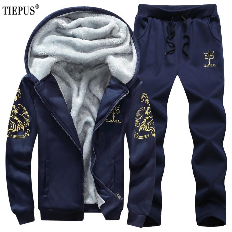 TIEPUS Tracksuit Men Casual Hooded Warm Sweatshirt Male Winter Thick Inner Fleece 2pcs Suits Jacket+Pant Men Plus Size 8XL,9XL