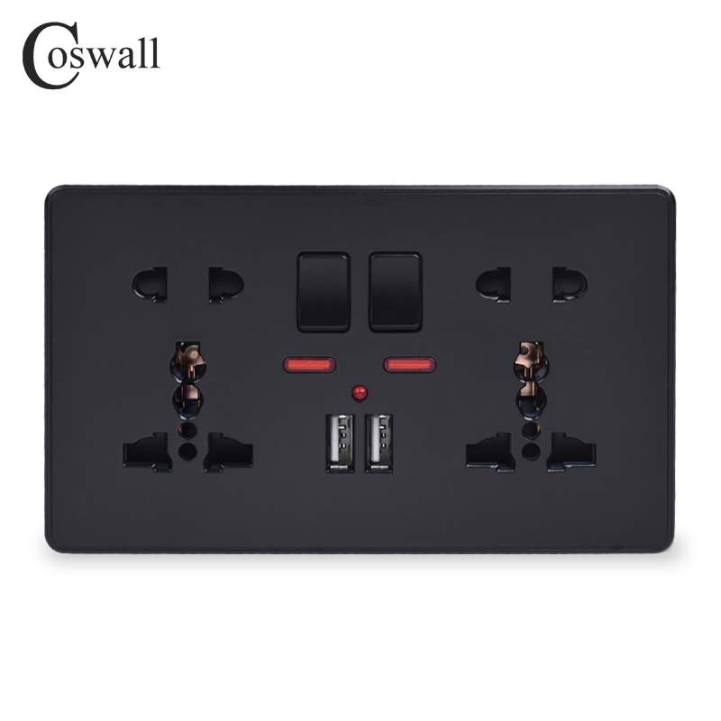 Coswall Wall Power Socket Double Universal 5 Hole Switched Outlet With Neon 2.1A Dual USB Charger Port LED Indicator Black Color
