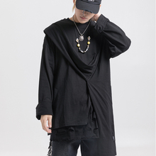 купить Dark Icon Solid Color Irregular Hem Street Men's T-shirt Long Sleeve Round Neck High Fashion Streetwear Tshirt Men Women 3Color дешево