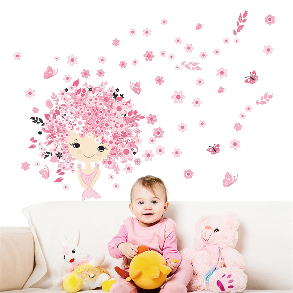 Colorful flower flower fairy pink cute baby girl mermaid for Stickers pared bebe