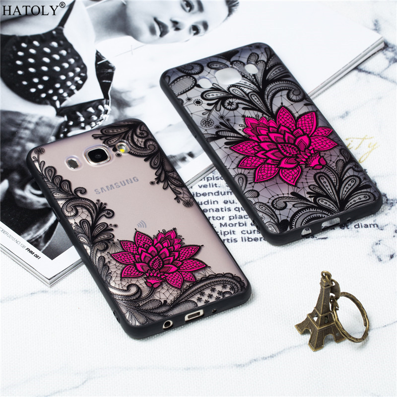 For Samsung Galaxy J5 2016 Cover Lace Black Rose Phone Case Embroidery Foral Cover For Samsung Galaxy J5 2016 J510 Phone Fundas